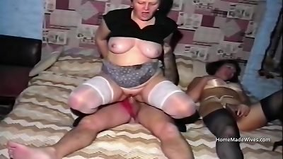 Foul throat council estate old housewife threesome