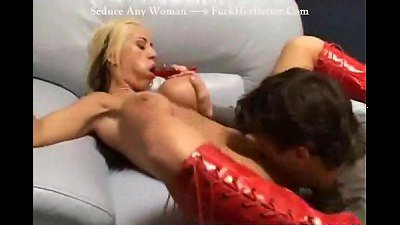 Big titie blonde likes cum lotion