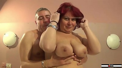 Horny busty redhead mature does her first porn casting