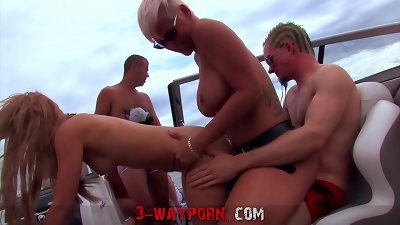 3-Way Porn - Group Fucking on a Speed Boat - Part 3